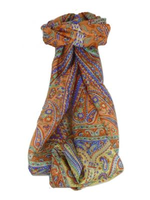 Mulberry Silk Traditional Long Scarf Dixit Terracotta by Pashmina & Silk