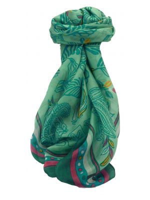 Mulberry Silk Contemporary Square Scarf Barak Blue by Pashmina & Silk