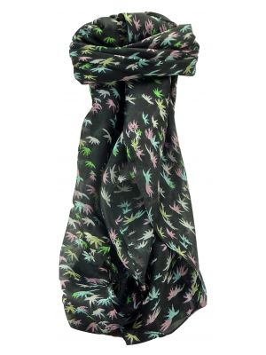 Mulberry Silk Contemporary Square Scarf Baanas Black by Pashmina & Silk
