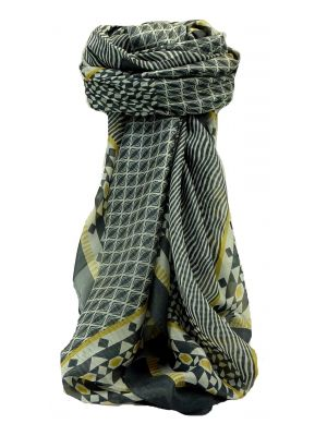Mulberry Silk Contemporary Square Scarf Chambal Charcoal by Pashmina & Silk