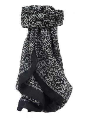 Mulberry Silk Contemporary Square Scarf Mila Black by Pashmina & Silk