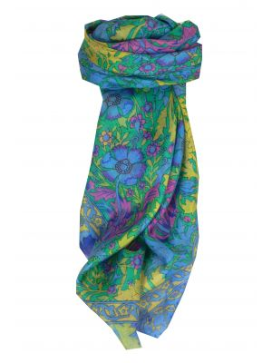 Mulberry Silk Contemporary Square Scarf Flora Blue by Pashmina & Silk