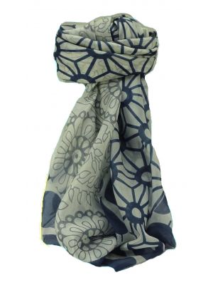 Mulberry Silk Contemporary Square Scarf Musi Blue by Pashmina & Silk