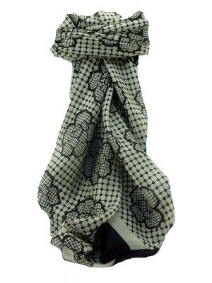 Mulberry Silk Contemporary Square Scarf Mirjan Black&White by Pashmina & Silk
