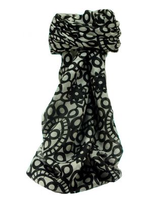 Mulberry Silk Contemporary Square Scarf Moyar Black by Pashmina & Silk