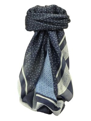 Mulberry Silk Contemporary Square Scarf Garali Navy by Pashmina & Silk