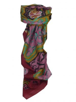 Mulberry Silk Contemporary Square Scarf Lyra Wine by Pashmina & Silk