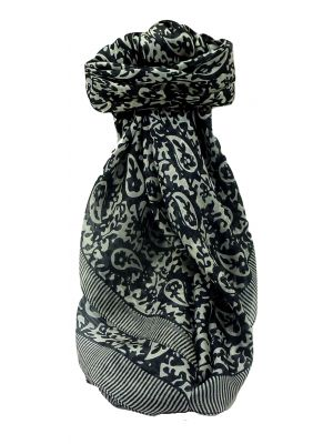 Mulberry Silk Contemporary Square Scarf Tokara Black&White by Pashmina & Silk