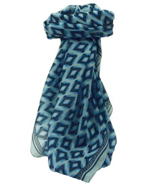 Mulberry Silk Contemporary Square Scarf Mahi Blue by Pashmina & Silk