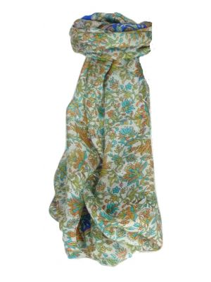 Mulberry Silk Traditional Long Scarf Sarita Blue by Pashmina & Silk