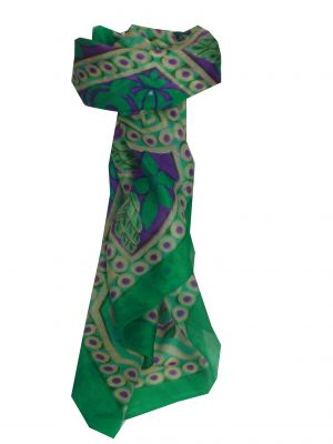 Mulberry Silk Contemporary Square Scarf Madhu Teal by Pashmina & Silk