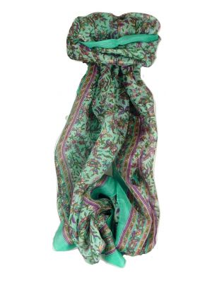Mulberry Silk Traditional Long Scarf Basu Aquamarine by Pashmina & Silk