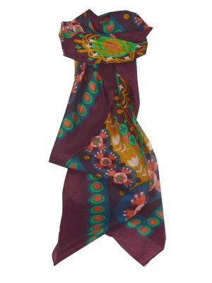 Mulberry Silk Contemporary Square Scarf Mariani Plum by Pashmina & Silk