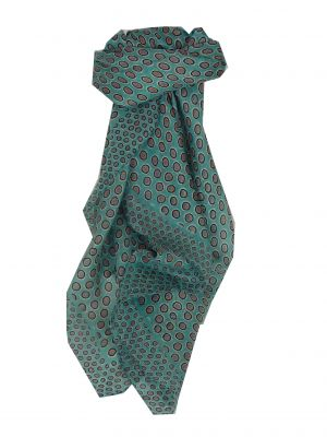 Mulberry Silk Contemporary Square Scarf Padra Teal by Pashmina & Silk