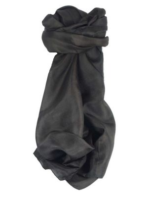 Mens Mulberry Silk Hand Dyed Square Scarf Black from Pashmina & Silk