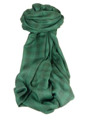 Cashmere Srinagar Muffler Scarf Medium Check Emerald by Pashmina & Silk