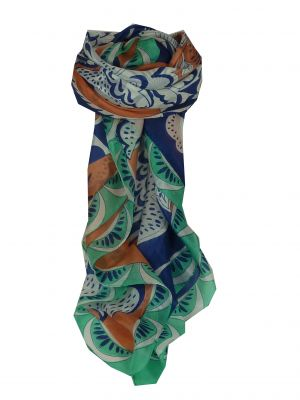 Mulberry Silk Contemporary Square Scarf Sira Teal by Pashmina & Silk