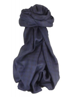 Cashmere Srinagar Muffler Scarf Small Check Dark Blue by Pashmina & Silk