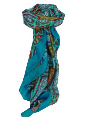 Mulberry Silk Contemporary Square Scarf Tura Aquamarine by Pashmina & Silk
