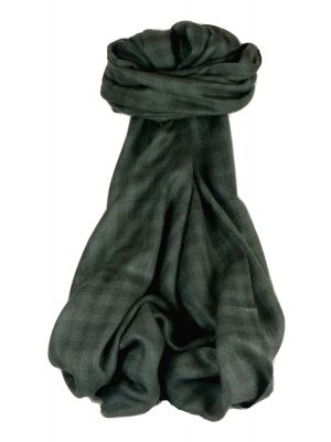 Cashmere Srinagar Muffler Scarf Small Check Charcoal by Pashmina & Silk
