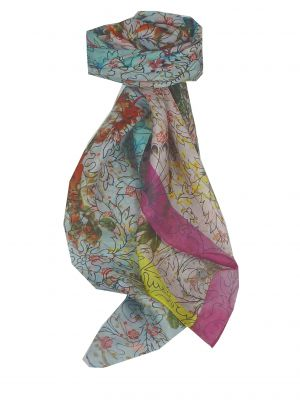 Mulberry Silk Contemporary Square Scarf Zeenat Hibiscus by Pashmina & Silk