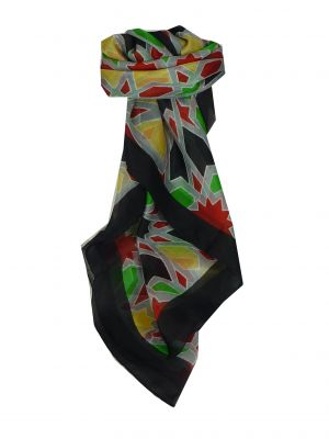 Mulberry Silk Contemporary Square Scarf Hara Black by Pashmina & Silk