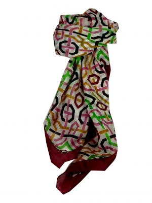 Mulberry Silk Contemporary Square Scarf Joti Wine by Pashmina & Silk