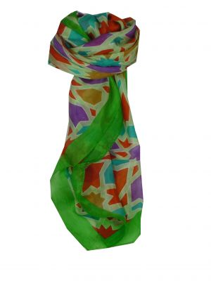 Mulberry Silk Contemporary Square Scarf Hara Citron Vert by Pashmina & Silk