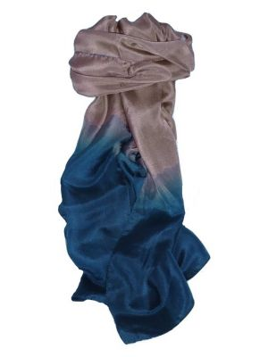 Mens Tabby Weave Pure Silk Scarf Sapphire by Pashmina & Silk