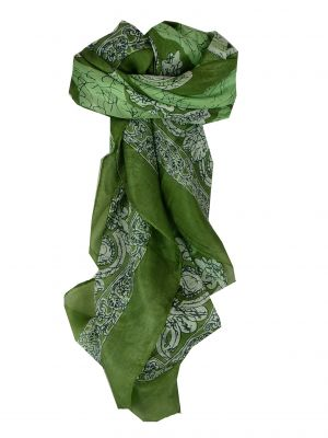 Mulberry Silk Classic Square Scarf Zahra Green by Pashmina & Silk