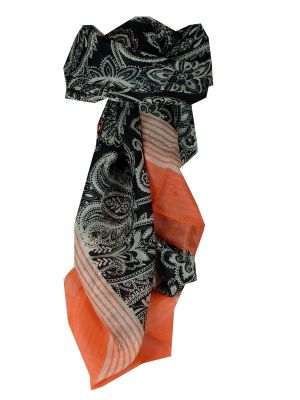 Mulberry Silk Classic Square Scarf Valli Nectarine by Pashmina & Silk