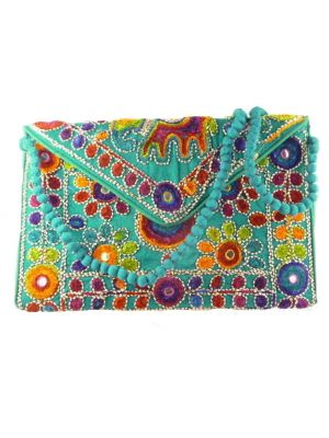 Silk Handbag Peacock Clutch Blue by Silk Sauvage at Pashmina & Silk