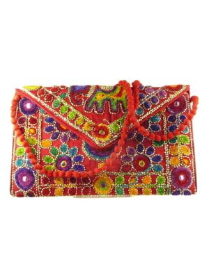 Silk Handbag Peacock Clutch Scarlet by Silk Sauvage at Pashmina & Silk