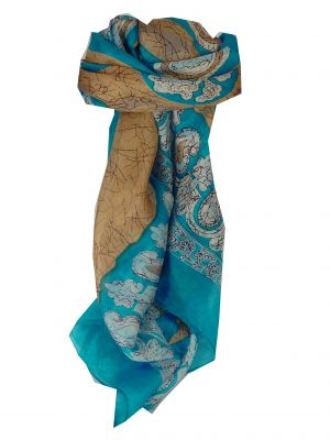 Mulberry Silk Classic Square Scarf Zahra Blue by Pashmina & Silk