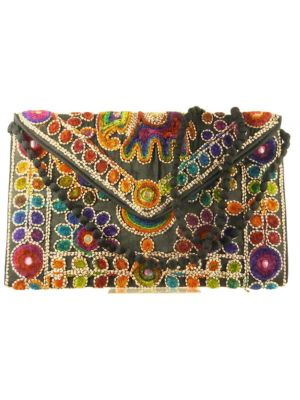 Silk Handbag Peacock Clutch Black by Silk Sauvage at Pashmina & Silk