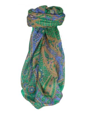 Mulberry Silk Classic Square Scarf Ushma Teal by Pashmina & Silk
