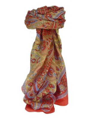 Mulberry Silk Classic Square Scarf Ushma Red by Pashmina & Silk