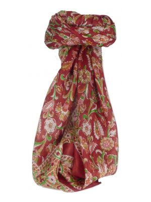 Mulberry Silk Classic Square Scarf Tashi Wine by Pashmina & Silk