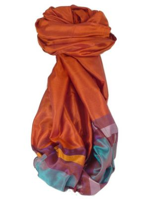Varanasi Border Prime Silk Long Scarf Heritage Gupta 164 by Pashmina & Silk