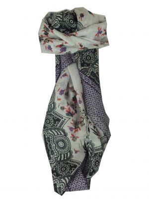 Mulberry Silk Classic Square Scarf Shirim Blue by Pashmina & Silk