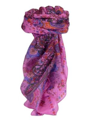 Mulberry Silk Classic Square Scarf Priya Cerise by Pashmina & Silk
