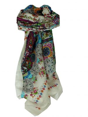 Mulberry Silk Classic Square Scarf Priya Ivory by Pashmina & Silk