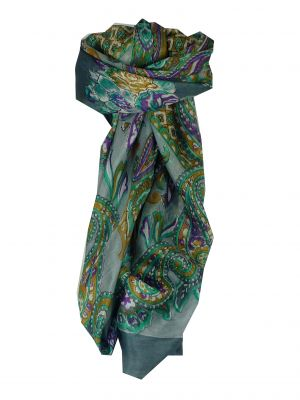 Mulberry Silk Classic Square Scarf Orissa Grey by Pashmina & Silk