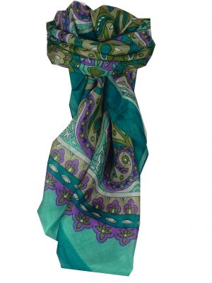 Mulberry Silk Classic Square Scarf Mala Teal by Pashmina & Silk
