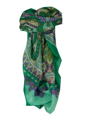 Mulberry Silk Classic Square Scarf Mala Green by Pashmina & Silk
