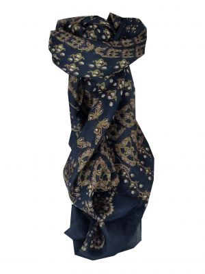 Mulberry Silk Classic Square Scarf Hiral Navy by Pashmina & Silk