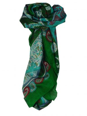 Mulberry Silk Classic Square Scarf Indore Green by Pashmina & Silk