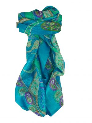 Mulberry Silk Classic Square Scarf Indore Aquamarine by Pashmina & Silk