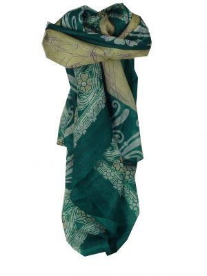 Mulberry Silk Classic Square Scarf Geena Teal by Pashmina & Silk