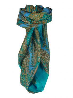Mulberry Silk Classic Square Scarf Harisa Aquamarine by Pashmina & Silk